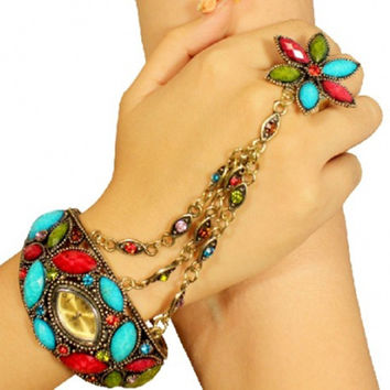 Bracelet Watch with Ring for Ladies in Multicolor Football Shape Dial