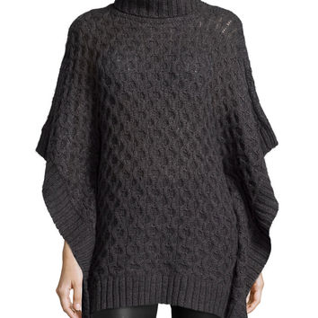 Turtleneck Textured Poncho Sweater,