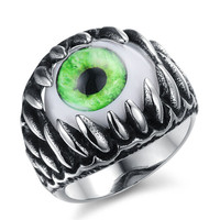 Europe Punk Stainless Steel Opal Inlaid Eyeball Mens Finger Jewelry