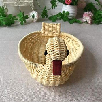 Kitchen storage basket material using natural wicker production living room fruit basket duckling creative storage