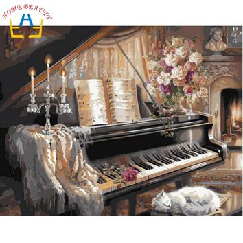 40x50cm on canvas oil painting by numbers home piano J036