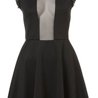 Embellished Mesh Insert Skater Dress - Fit & Flare Dresses - Dresses  - Apparel