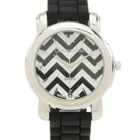 Aeropostale  Womens Chevron Rubber Watch - Black