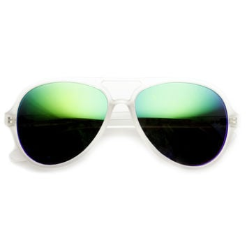 Retro Frosted Color Mirror Lens Summer Aviator Sunglasses 8825