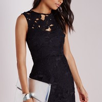 CROCHET BODYCON DRESS BLACK