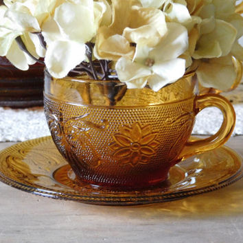 Amber Glass Cups and Saucers by Indiana Glass Tiara Sandwich Pattern