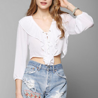 Kimchi Blue Lace-Up Ruffle Cropped Blouse - Urban Outfitters