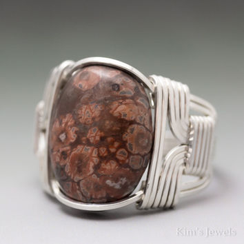 Leopard Skin Jasper Cabochon Sterling Silver Wire Wrapped Ring