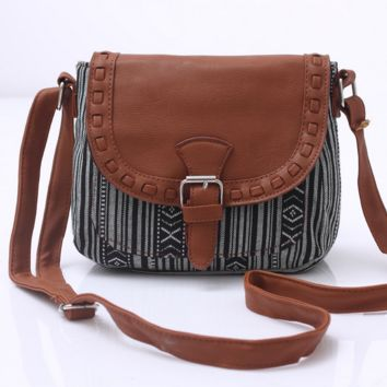 Striped Black Aztec Crossbody Canvas Leather Shoulder Bag