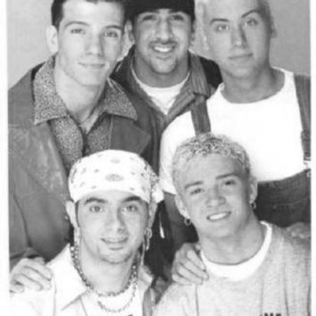 Nsync poster Metal Sign Wall Art 8in x 12in Black and White