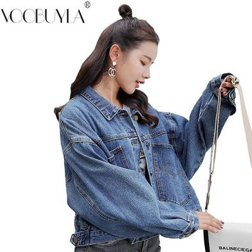 Trendy Voobuyla Blue Short Denim Jacket Women Jeans Jackets Ladies Loose Outerwear Spring&Autumn Cropped Denim Coats Plus Size Clothes AT_94_13
