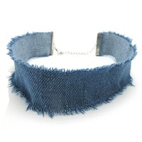 2016 New Blue Denim Choker Necklace For Women Tassel Jeans Chokers Chocker tattoo choker Collier ras de cou colar bijoux femme