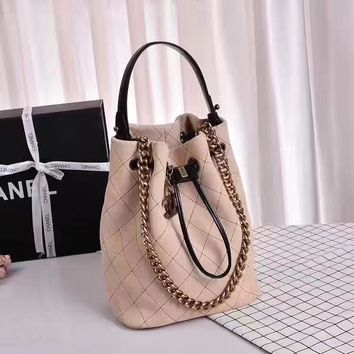 Chanel Caviar Skin Large Shoulder Bag Bucket Bag Backpack Bag avelling bag Beige