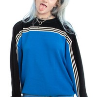 Vintage Y2K Black & Blue Two-Tone Pullover - One Size Fits Many