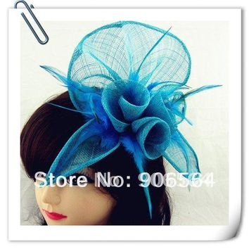 Free shipping 20 color can be chosen sinamay fascinator hats with feather good bridal headwear red wedding hats Very nice MSF094