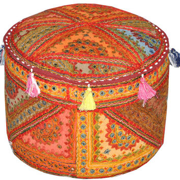 Vintage Embroidered Mirror work Round Ottomans Covers Poufs Handmade Footstools Bohemian Stools round orange ottoman footstool pouf