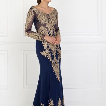 Long sleeve evening gown   gls 1597