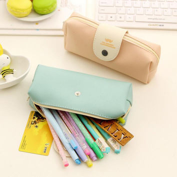 AB32 Simple Elegant Mr Beard Soild Pencil Case Storage Bag School Stationery Makeup Cosmetic Pouch Travel