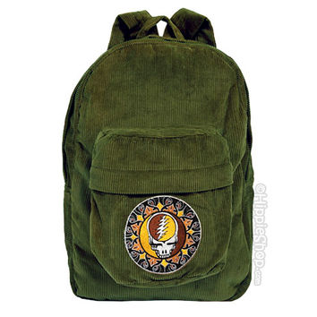 Grateful Dead - Corduroy Steal Your Face Backpack on Sale for $39.99 at HippieShop.com