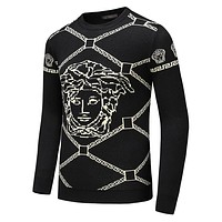 VERSACE Fashion Men Women Casual Long Sleeve Knit Sweater Sweatshirt