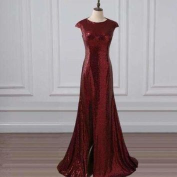 ICIKON3 adln mermaid Evening Dresses with slit scoop sequin long promDresses Elegant party gowns rose gold green burgundy black red