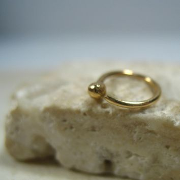 Tiny Hoop Earring Solid 14k Gold Ball Single
