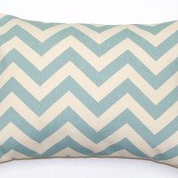 Light Blue Pillow.Chevron.ONE 12x16 or 12x18 inch Decorator Lumbar Pillow Cover.Printed Fabric Front and Back