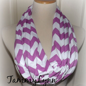 Purple Orchid Lilac & White LONG Chevron New Spring Color Easter Jersey Knit Infinity Scarf Zig Zag Spring Scarf Ladies Women's Accessories