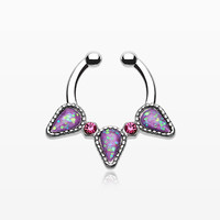 Opal Sparkle Trident Fake Septum Clip-On Ring