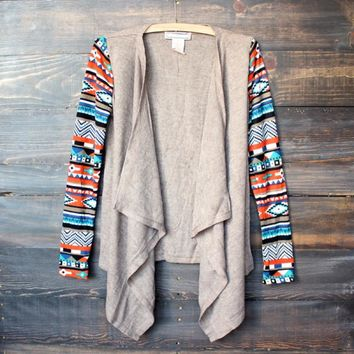 Womens Lightweight Open Front Cascading Cardigan With Aztec Print Sleeves   Taupe