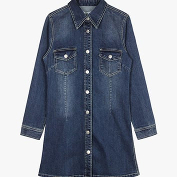 Blue Button Front Denim Dress