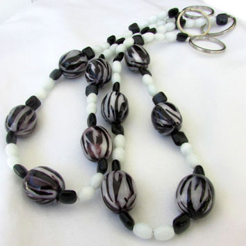 Zebra Stripe Curtain Tiebacks, Black & White Bead Tie Backs, Beaded Curtain Tiebacks