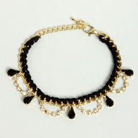 Chain on the Brain Gold and Black Bracelet