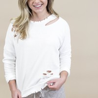 Observe Distressed Pullover, White
