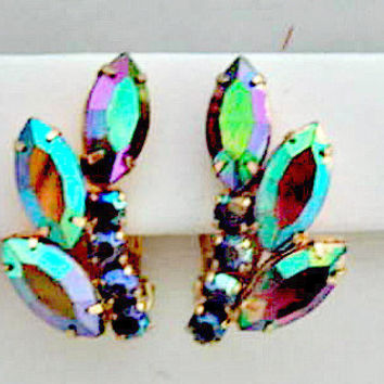 Aurora Borealis Vintage Clip On Earrings - Hollywood Glam Jewelry