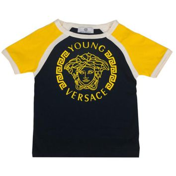 Versace Boys Navy and Yellow Medusa Logo T-shirt