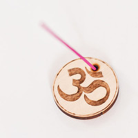 Small Om  Incense Holder   - Wooden Joga Pyrography Gift - Woodburning Incense Stand - Eco Friendly