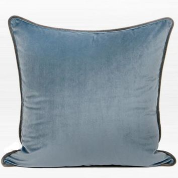 """Steel Blue Solid Color Flannel Fabric Pillow 20""""X20"""""""
