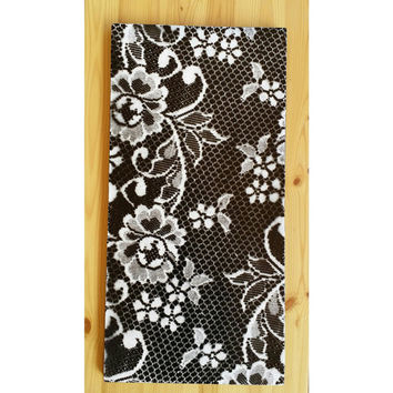 Lace spray paint painting, Hand painted lace painting, Lace wall decor, black and white wall decor, flowered lace pattern, wall lace art