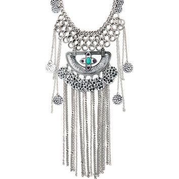 With Love From CA Disc N Fringe Statement Necklace - Womens Jewelry - Silver - One