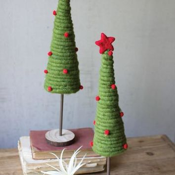 Set Of 2 Coiled Felt Trees With Wood Bases