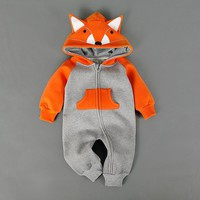 Baby Warm Fox Hooded Overall
