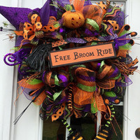 Halloween deco mesh wreath, Halloween mesh wreath, Witch wreath, Witch door wreath,Witch boots wreath,front door wreath,witch mesh wreath