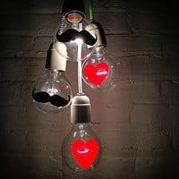 The I Heart Mustache Light Bulbs - Hand Painted Globe Bulb - Currently price ON SALE