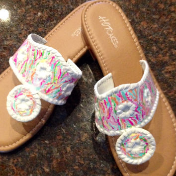Jack Rogers inspired sandals with Lilly Pulitzer like design. Special order for Elizabeth Allen