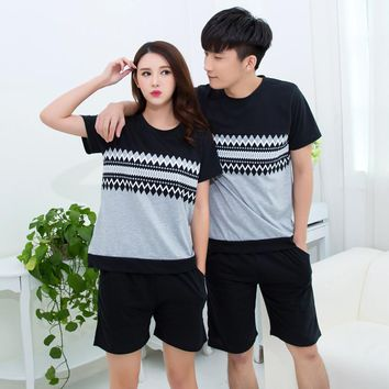 Couple pajamas set summer short sleeve pyjamas men and women fashion cotton sleepwear pijamas mujer home clothing