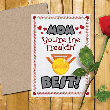 Printable Mothers Day Card and Envelope | Best Mom | 5x7 | Cute Card | Instant Digital Download | Funny Mom Card |