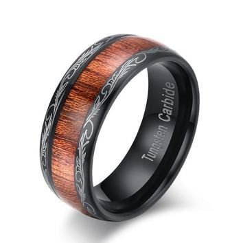 Black Tungsten carbide ring with koa wood inlay for him and her