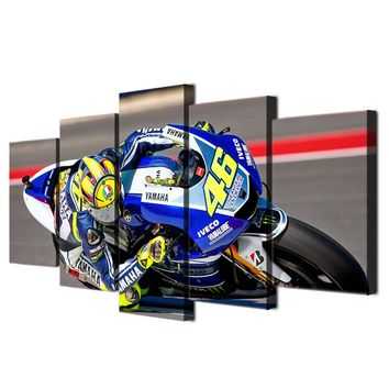 Valentino Rossi Moto Motorcycle Yamaha Sportbike Racing Canvas Wall Art