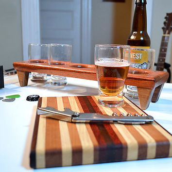 Handmade Wood Mini Brew Beer Sampler and Cutting Board 5 - The Rocker - Jatoba & Black Walnut